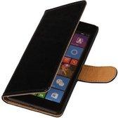 Zwart pu leder bookcase voor de Microsoft Lumia 535 hoesje