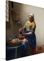Het melkmeisje - Schilderij van Johannes Vermeer Canvas 30x40 cm - klein - Foto print op Canvas schilderij (Wanddecoratie woonkamer / slaapkamer)