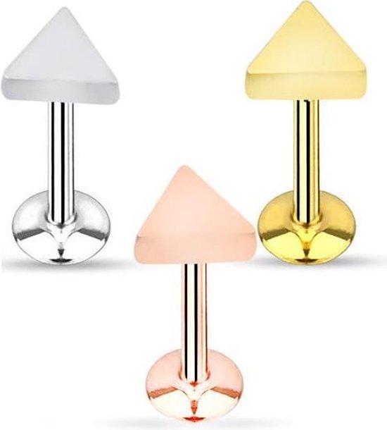 Labret piercing (oor, neus, lip) - Driehoek - Zilverkleurig - 1,2mm dikte - draaglengte 8mm - Lucky Horseshoe