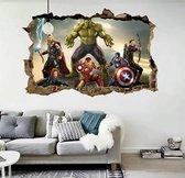 Marvel Avengers Muursticker - Deursticker Kinderkamer Jongenskamer - o.a. Hulk / Captain America / Thor / Iron Man - 3D effect 70 x 50 cm