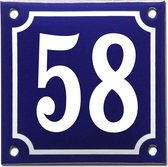 Emaille huisnummer blauw/wit nr. 58