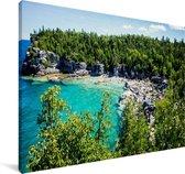 Kust van het Nationaal park Bruce Peninsula in Canada Canvas 90x60 cm - Foto print op Canvas schilderij (Wanddecoratie woonkamer / slaapkamer)