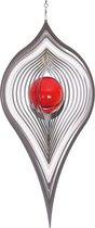 BlinQ Art Windspinner Pendel RVS - 230x120mm - Glaskogel 35mm rood