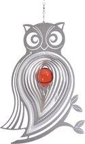 BlinQ Art Windspinner Uil RVS - 166x224mm - Glaskogel 35mm rood