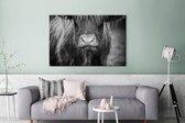 Schotse hooglander kalf zwart wit Canvas 120x80 cm - Foto print op Canvas schilderij (Wanddecoratie woonkamer / slaapkamer) / Wilde dieren Canvas Schilderijen