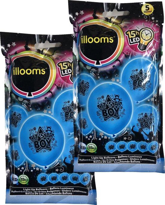 Illooms Blauwe It's a Boy Ballonnen met LED Verlichting voor Geboorte van Zoon – 10 Stuks – 23x23x23 cm   Decoratie voor Geboorte Feest   Versiering   Ballon   Babyshower