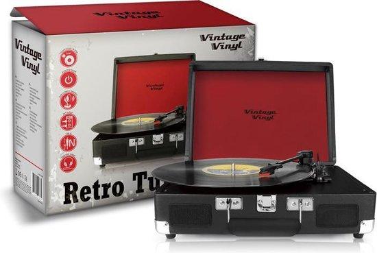 Vintage Vinyl Retro Platenspeler - Zwart