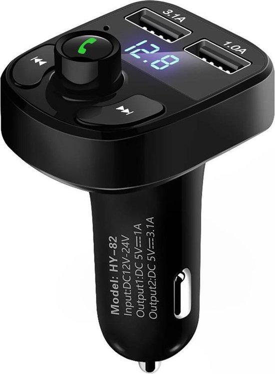 Bluetooth Carkit FM Transmitter om Handsfree te Bellen en Draadloos Muziek te Streamen, Met Volumeknop en Oplaadfunctie Voor 2 Telefoons Tegelijkertijd | Display | Handsfree Bellen | USB Oplader | MP3 Speler | Bluetooth | Aux | TF-Kaart | HY-82