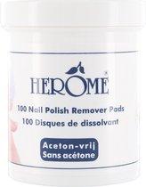 Herome Caring Nail Polish Remover (Nagellakverwijderaar) - 100 pads - Schoon, netjes en handig voor thuis en onderweg