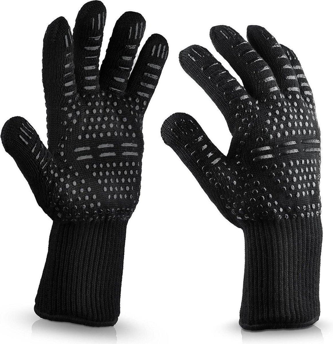 QY Hittebestendige BBQ & Oven Handschoenen - tot 500 C - Extra Lang Voor Armbescherming - zwart