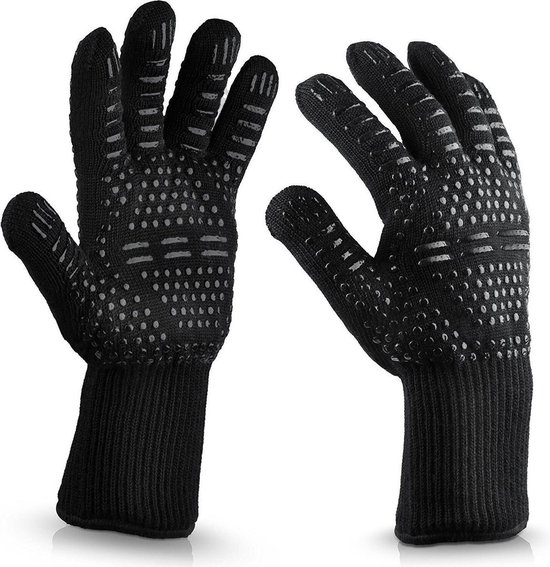 QY Hittebestendige BBQ & Oven Handschoenen - tot 500°C - Extra Lang Voor Armbescherming - zwart