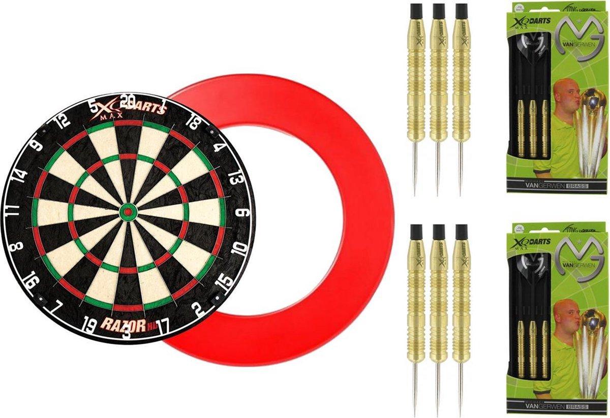 XQ Max - Razor HD Bristle - dartbord - inclusief - dartbord surround ring - Zwart - inclusief 2 sets 100% Brass Michael van Gerwen - 20 gram - dartpijlen