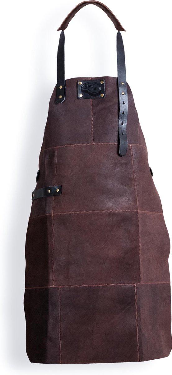 BBQ Schort - Leer - 81x56cm - Bruin