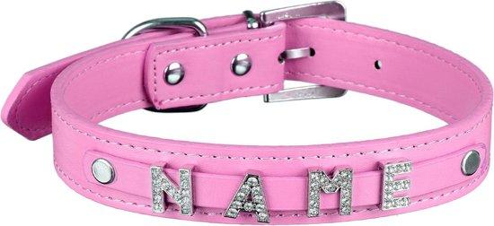 """scarlet pet   Hondenhalsband """"My-Name"""" incl. 5 strass letters; kan gepersonaliseerd worden met de naam van uw hond; extra letters kunnen besteld worden. Rozig (L) 46 cm"""