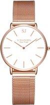 SJ WATCHES Roségouden Dames Horloge INCL Luxe Horlogebox 36MM - Roségold Horloge Mesh Bandje - Dames Horloge Rosékleurig - Chique Horloge Dames