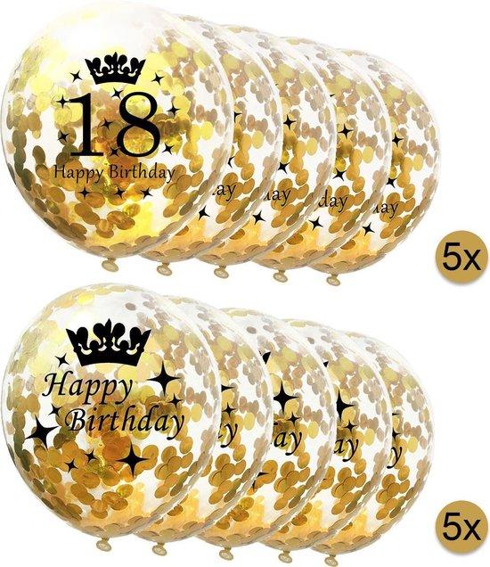 10 stuks confetti ballonnen - 5 stuks 18 jaar + 5 stuks Happy Birthday - Gouden Confetti - Verjaardag - Versiering