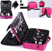 Cosmetica Koffer - Make-up Koffer met verstelbare vakken - Visagie en Nagelstyliste Beauty Koffer - 40x30x14CM - Roze
