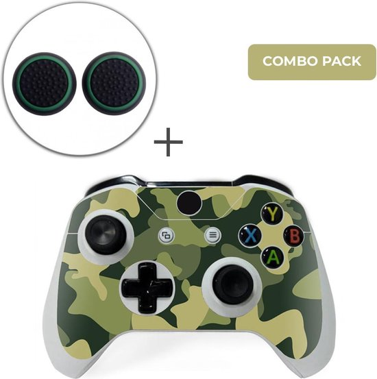 Army Camo / Groen Zwart Combo Pack – Xbox One Controller Skins Stickers + Thumb Grips