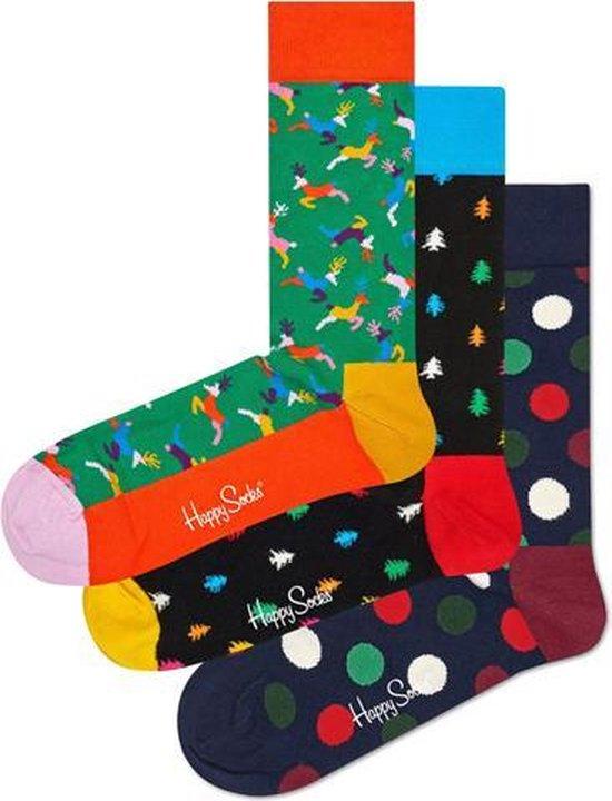 3x Happy Socks Christmas Geschenkset | Big Dot| Reindeer | Pineboom | Maat 36-40