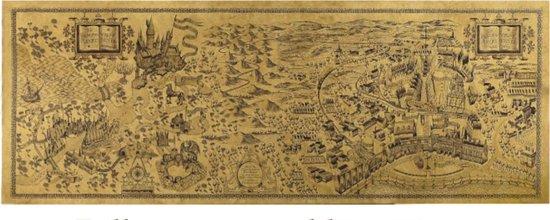 Harry Potter - Poster - Wizarding World - Filmposter - Vintage - Zweinstein - Plattegrond - Wereldkaart - 72 x 26 cm - Cadeau
