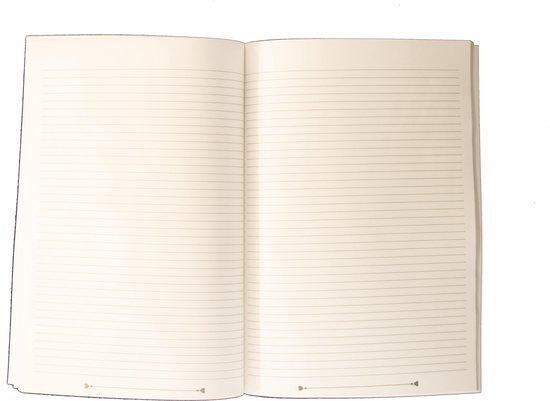 Notitieboek - A4 - Gelijnd - Blaadjes - Grijs - Gelijnd - Softcover - Elastiek - 50 gram papier - 100 pagina - Werk - Studie - Dagboek