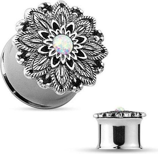 14 mm Double-flared plug lotus bloem met opal steen ©LMPiercings