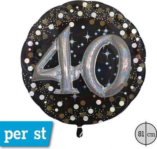 Folie multi ballon met sparkle opdruk en script getal 40. 81 cm, 3D effect.