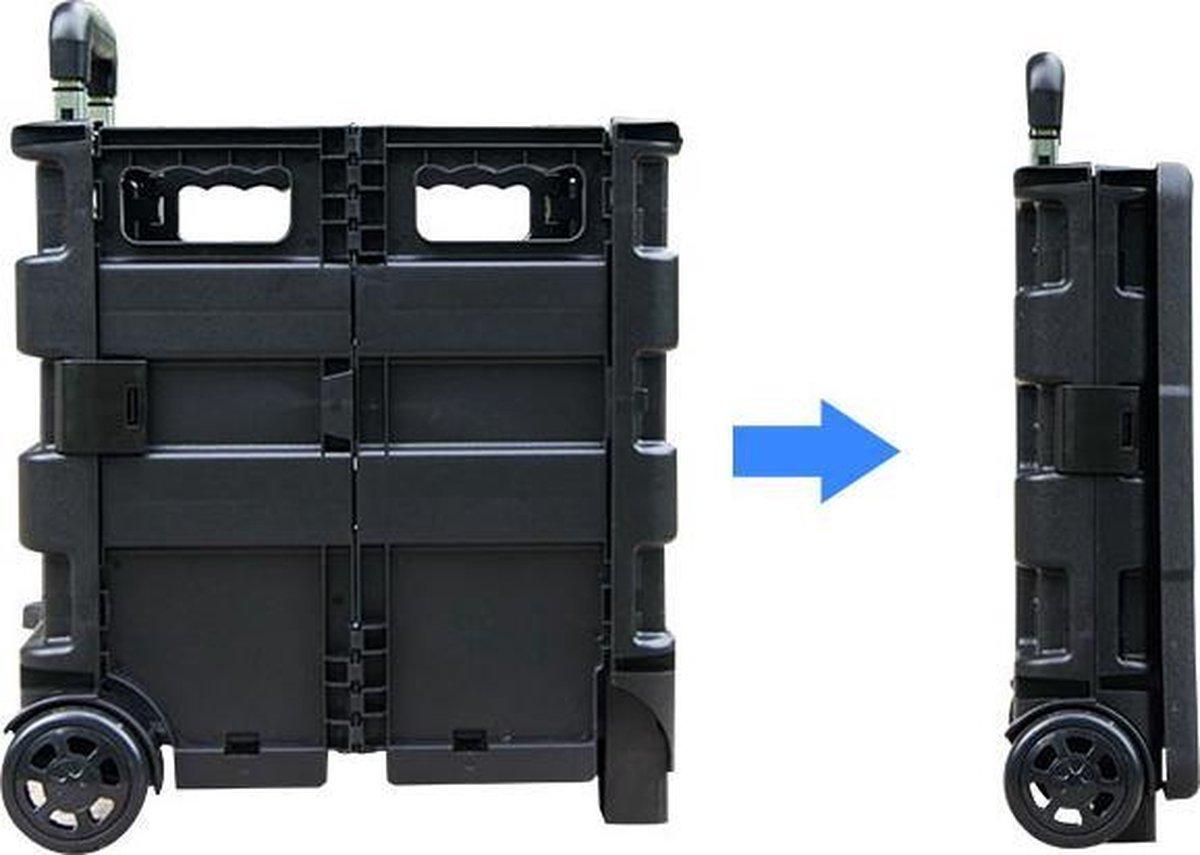 MH label - XXL - Boodschappentrolley - 70 Liter - Inklapbaar boodschappenkrat - Vouwkrat op trolley