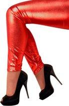 Legging metallic rood stretch Maat L - XL