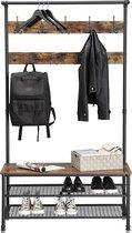 MIRA - XL Garderoberek met kapstok inclusief zitbankje en schoenenrek multifunctioneel met 9 dubbele haken | Vintage | Industrieel