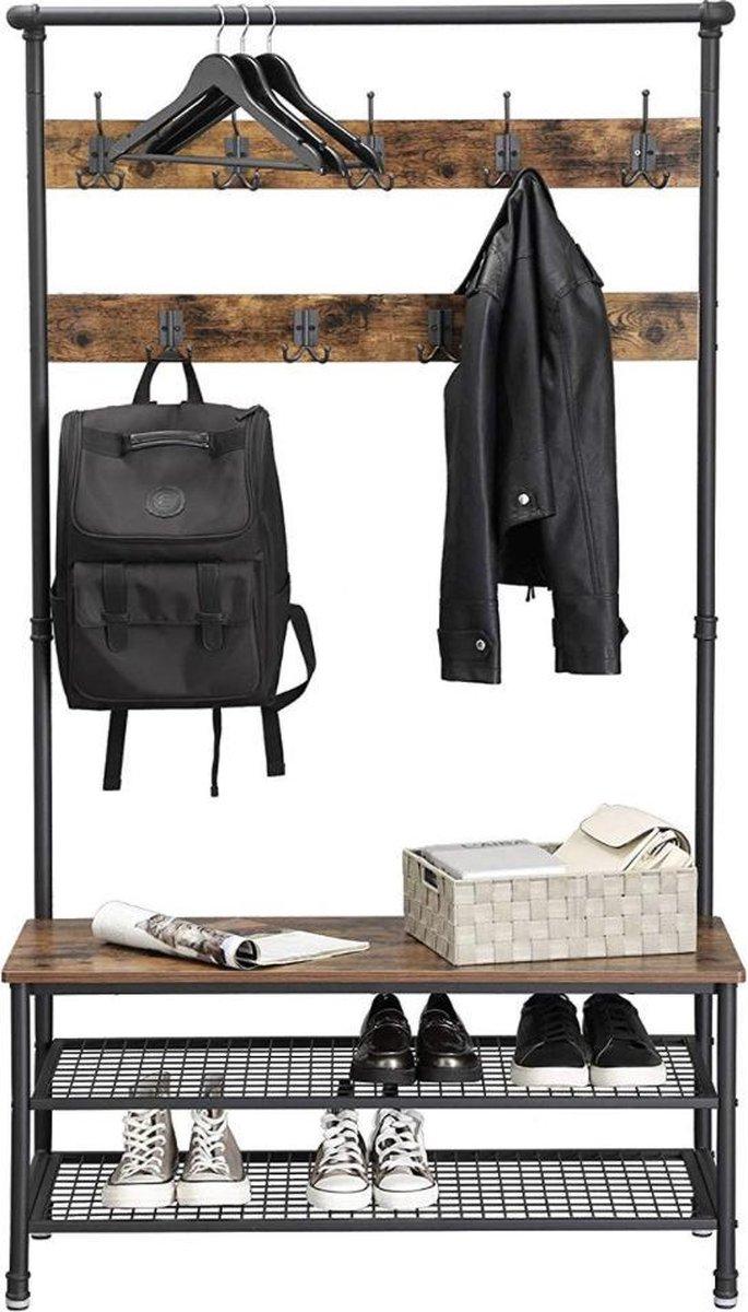 MIRA Home - XL Garderoberek met kapstok inclusief zitbankje en schoenenrek multifunctioneel met 9 du