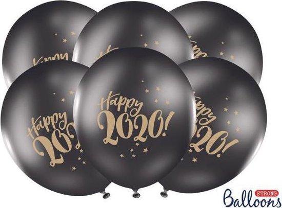 Ballonnen Happy 2020 zwart 50 stuks