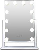 Witte Metalen Make-up hollywood LED spiegel, 12x dimbare LED bulbs. 3 kleuren licht, spiegels