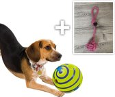 Wobble Wag Giggle Bal+Gratis Honden Touw (30cm)- Hondenbal-Speeltje-Hondenspeeltje - Speelbal - Hond - Toy - Honden Speelgoed - Zeer geschikt om uw hond bezig te houden.