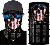 Motor Gezichtsmasker Nekwarmer Schedel Amerika Amerikaanse  Vlag - Motormasker - Skimasker - Motorsjaal - Halloween