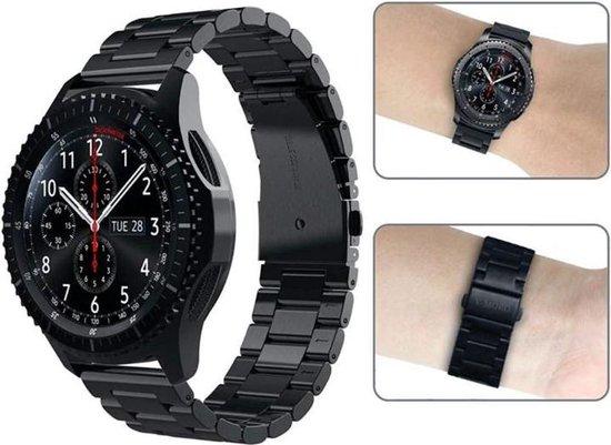 Zwart 22mm Samsung Galaxy Watch 46mm en Gear S3 metaal smartwatch horloge bandje universeel