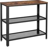 Consoletafel met 2 Roosters - Bijzettafel met Industrieel Design - Side Table Meubel van 101,5 x 35 x 80 cm