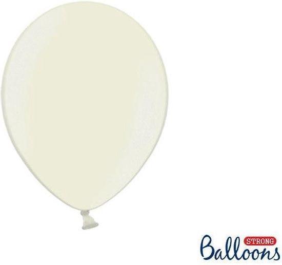 Metallic ballonnen 1e klas crème 100 stuks