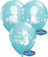Blauwe Disney Frozen ballonnen setje van 6x stuks - Feestartikelen en kinder verjaardag versiering