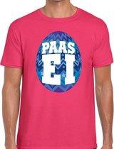Roze Paas t-shirt met blauw paasei - Pasen shirt voor heren - Pasen kleding 2XL