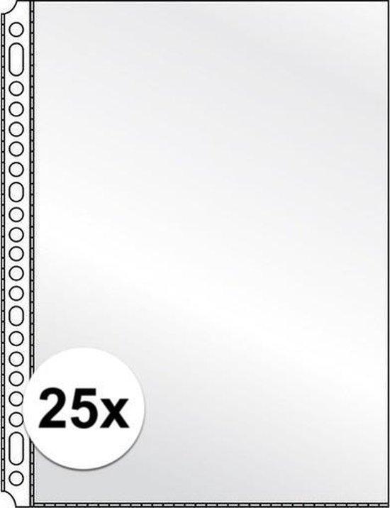 25x Showtassen/insteekhoezen transparant A4 23 gaats/rings - Kantoor opberg artikelen