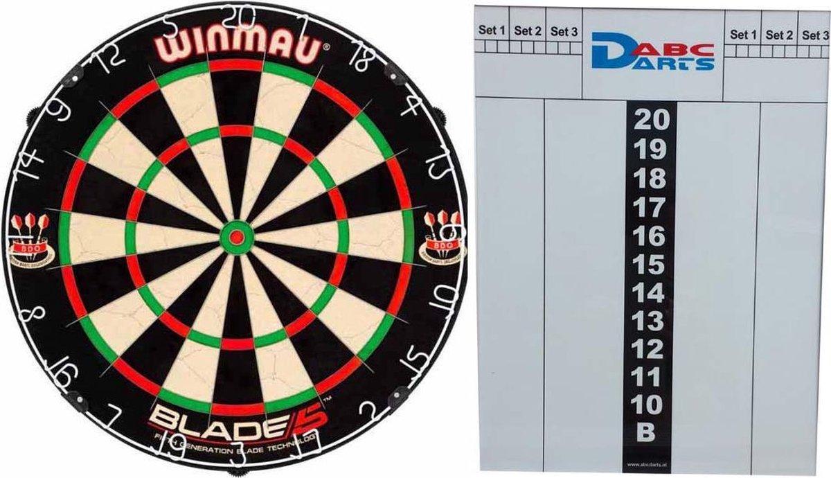 Winmau Blade 5 Dartbord met kunststof whiteboard scorebord