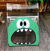 50 x Transparante uitdeelzakjes voor traktatie, verjaardag, kinderfeestje - 10 x 10 cm (gesloten) - met sluiting - 50 stuks - Monster Groen