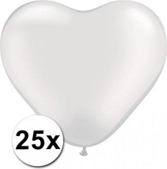 Hartjes ballonnen wit 25 stuks
