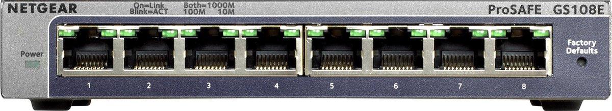 Netgear ProSAFE GS108E - Netwerk Switch - Smart managed - 8 gigabit poorten