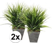 2x Grasplant in zwarte zinken pot 30 cm - Kamerplant kunstplanten/nepplanten