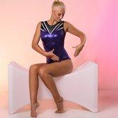 Fairysports Turnpakje Gympakje meisjes turnkleding gymkleding turnen gymnastiek paarse pakjes met glitters Felina maat 128-134