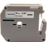 KATRIZ® huismerk label tape voor Brother M-K221| PT-65/70/80/90/M98 | Zwart op Wit | 9mm*8m |1 stuk