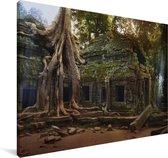 Boomwortels over de oude Ta Prohm-tempel in Angkor Wat Canvas 120x80 cm - Foto print op Canvas schilderij (Wanddecoratie woonkamer / slaapkamer) / Aziatische steden Canvas Schilderijen