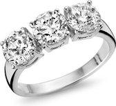 Silventi 943284389-58 Zilveren ring - ronde zirkonia Ø 6 en 5 mm - maat 58 - zilverkleurig